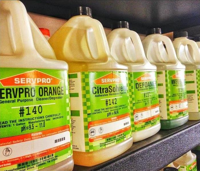 SERVPRO cleaning products on shelf