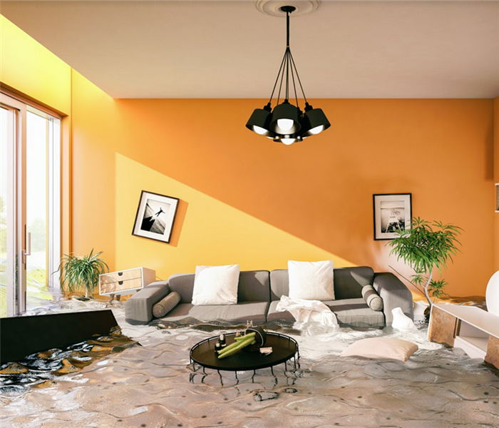 flooded living room with furniture and items floating around